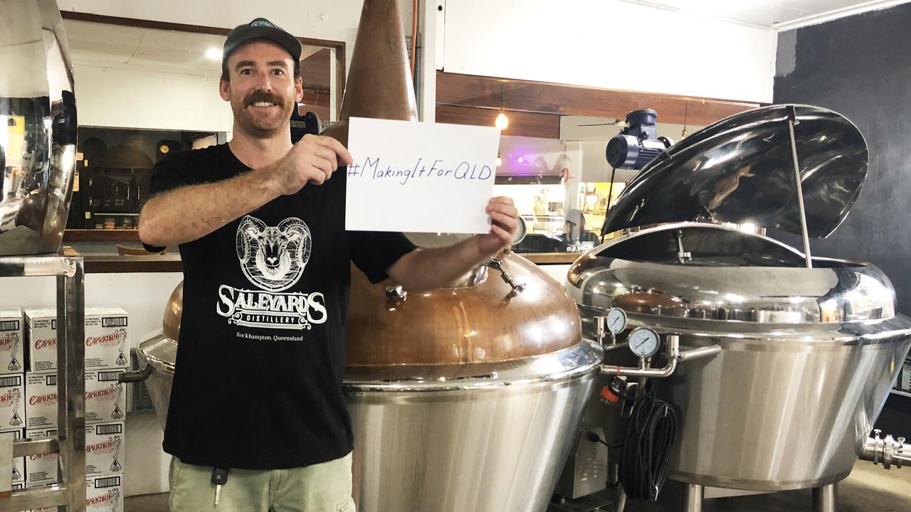 TEAM WORK: Saleyards Distillery's Simon Crowe showing his generous efforts in the wake of COVID-19 outbreak.