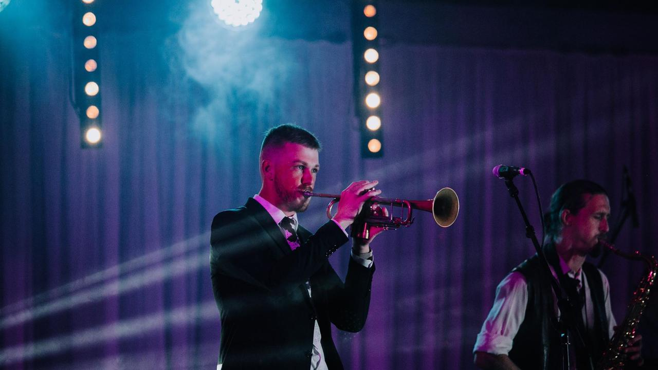 Grafton musician Garrett Salter playing the bugle during an impromptu guest appearance with The Ninth Chapter at the 2019 Jacaranda Ball at Market Square on 25th October, 2019. Photo: Chloe Van Dorp