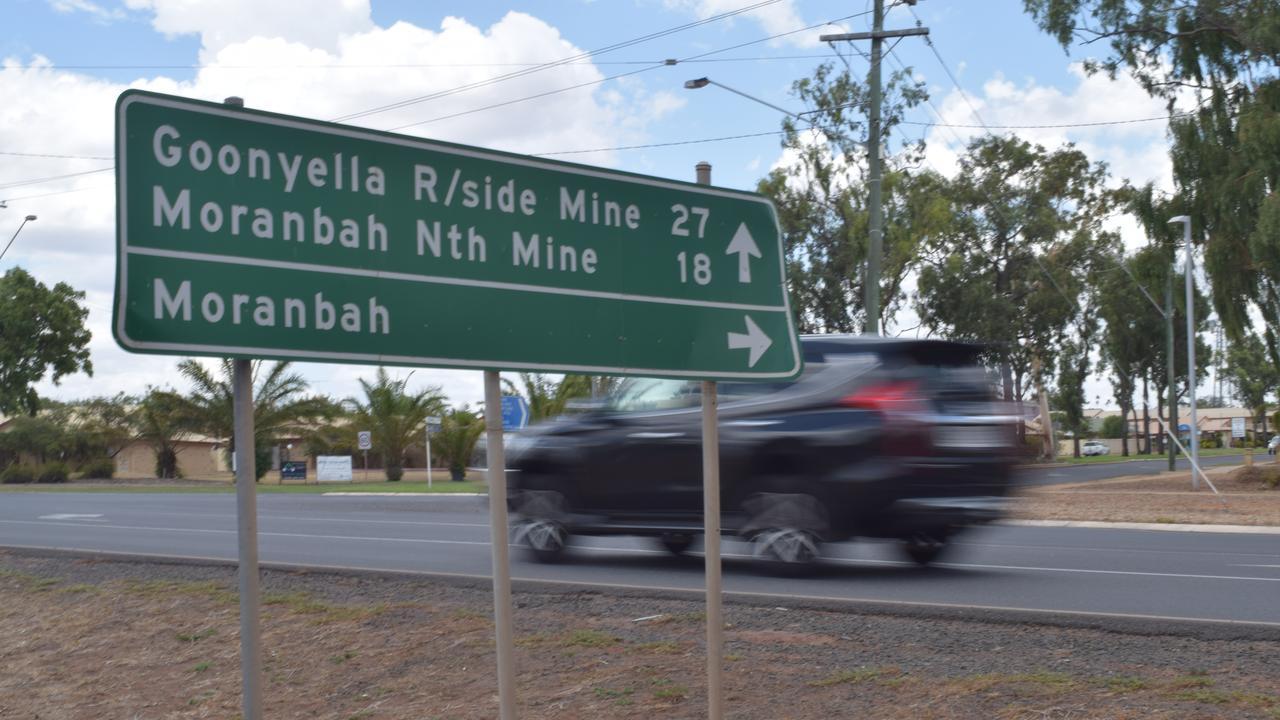 A sign for Goonyella Riverside Mine and Moranbah North Mine. Picture: Zizi Averill