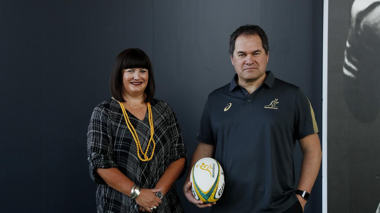Dave Rennie welcomed to Rugby Australia by former CEO Raelene Castle Picture: Nikki Short