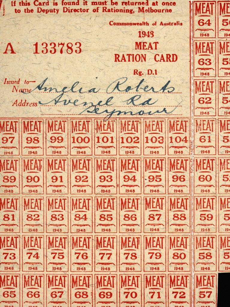 Ration Card – Amelia Roberts, Meat, Commonwealth of Australia, 1948. Picture: Museums Victoria