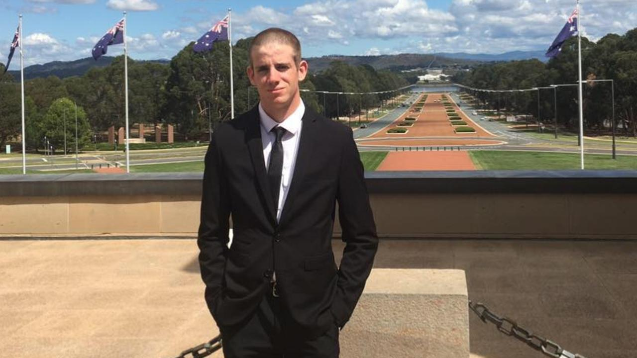 CANBERRA VISIT: Liam Wolf during a visit to the War Memorial, as part of his military training.
