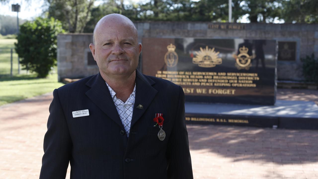 Brunswick Heads-Billinudgel RSL sub-branch president Darren Gray at the Brunswick Heads cenotaph.