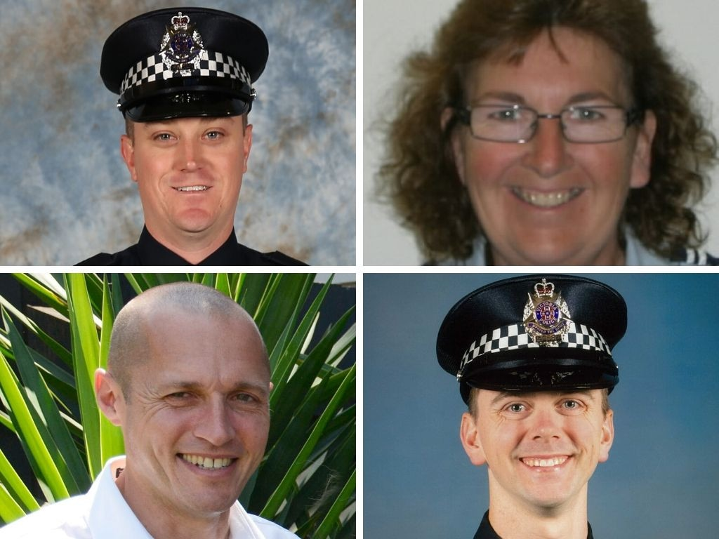The four victims of a horror crash on the Eastern Freeway (clockwise from top left) - Constable Glen Humphris, Leading Senior Constable Lynette Taylor, Senior Constable Kevin King, Constable Joshua Prestney.