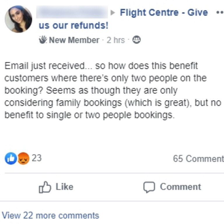 Flight Centre has announced new changes to their cancellation policy after sparking outrage among angry consumers (Facebook)