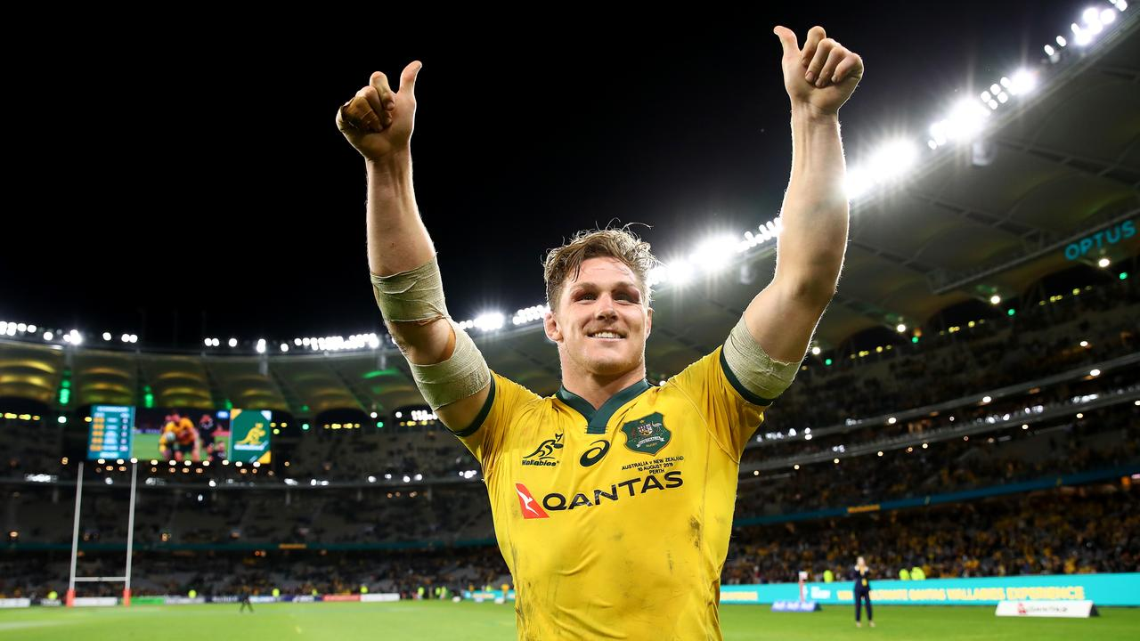 Michael Hooper celebrates a Wallabies victory. Picture: Cameron Spencer/Getty Images