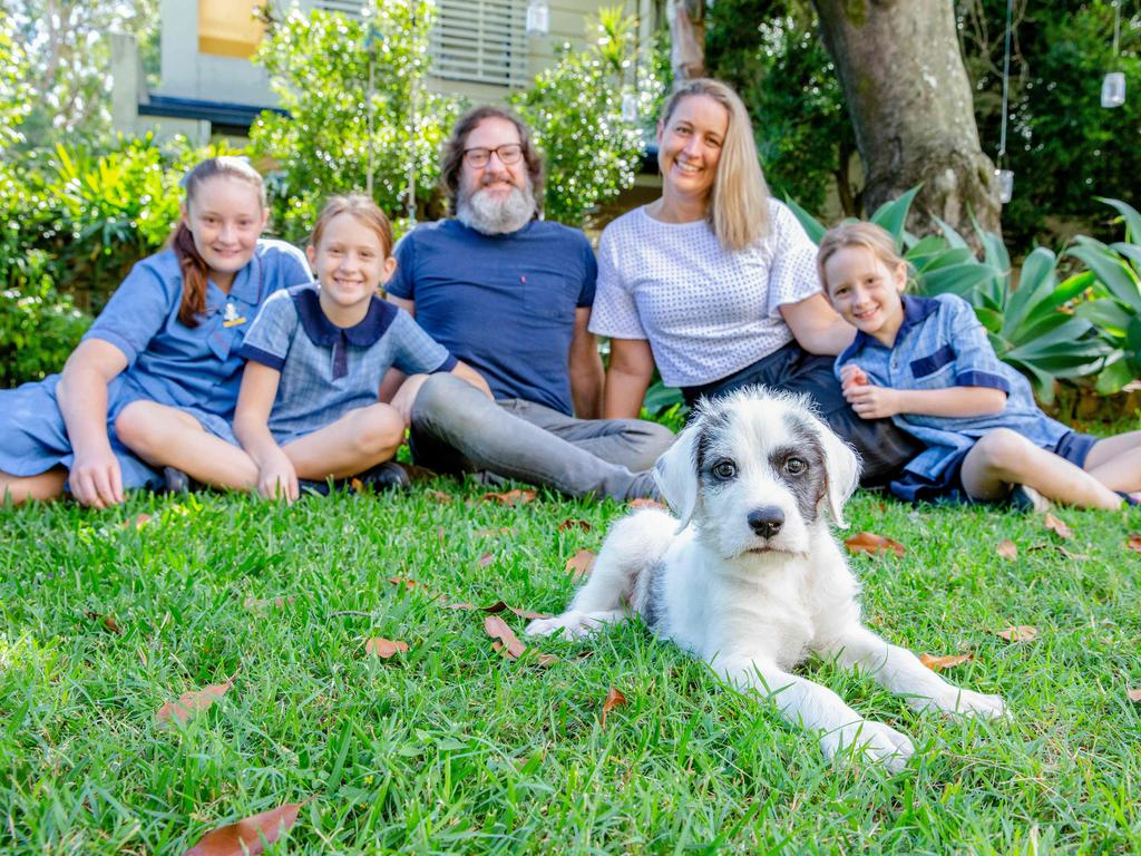 The Clark family from Hawthorne (left to right) Lola, Eleanor, Dan, Lucy and Sylvie have recently acquired puppy 'Chewie' named after Chewbacca from Star Wars. Picture: Richard Walker