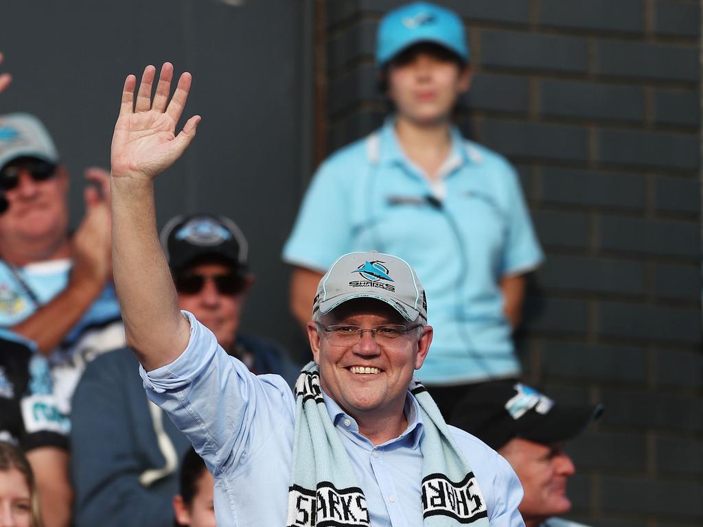 Scott Morrison loves the Cronulla Sharks. Picture: Matt King/Getty Images