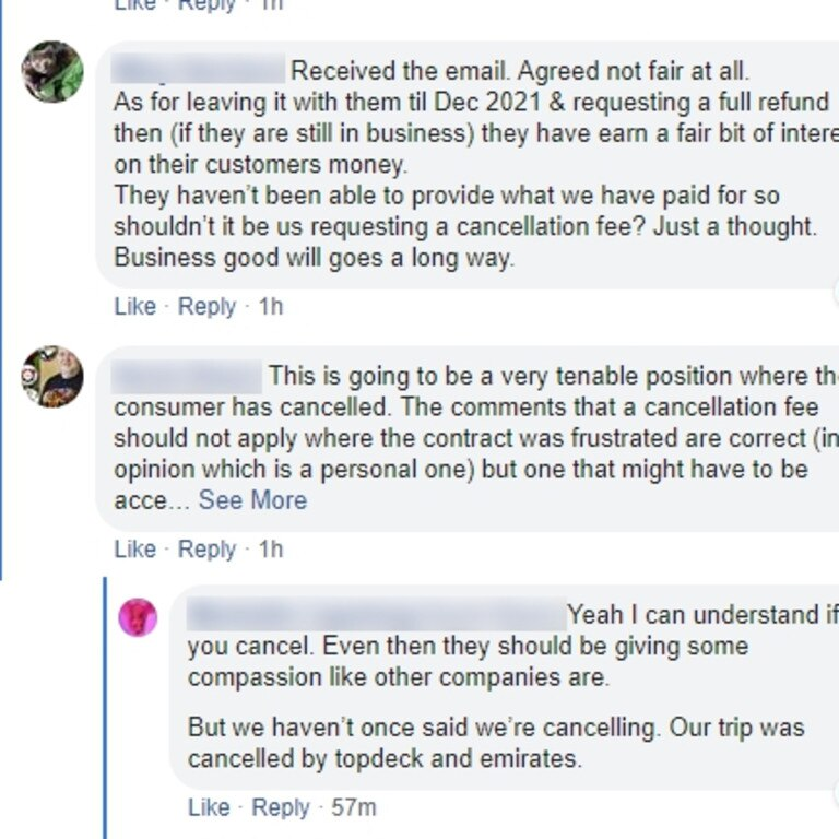 Many angry customers claim they shouldn't pay a fee after their plans were cancelled. (Facebook)
