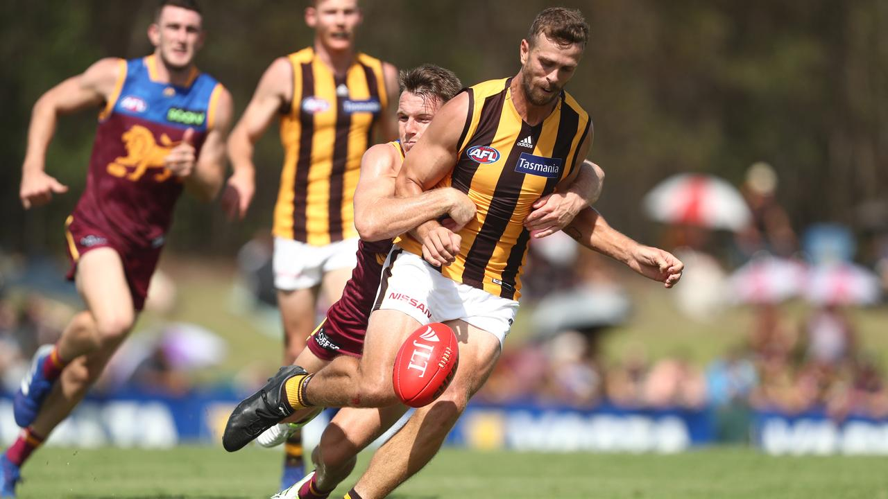 Tim Mohr in action during a pre-season game for Hawthorn. Picture: Getty Images