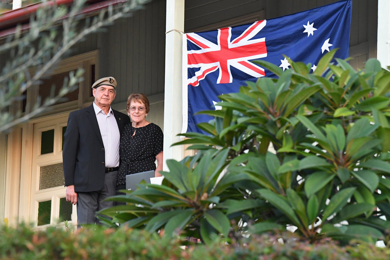 Anzac Day 2020 - Vietnam veteran Ted Ruska and wife Lis on the verandah of their Sussex St house in Maryborough.Photo: Alistair Brightman
