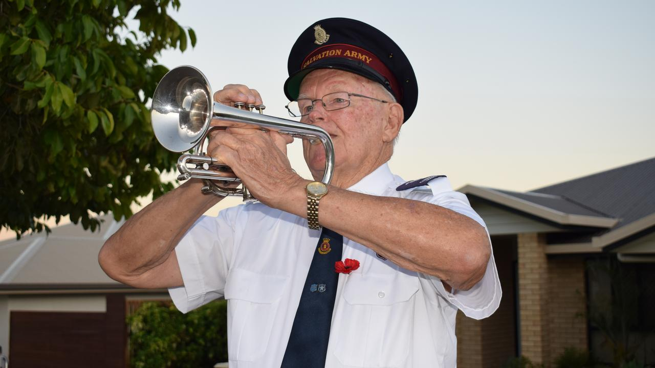 Trevor Ivers playing the Last Post on his trumpet. Pictures: Aden Stokes