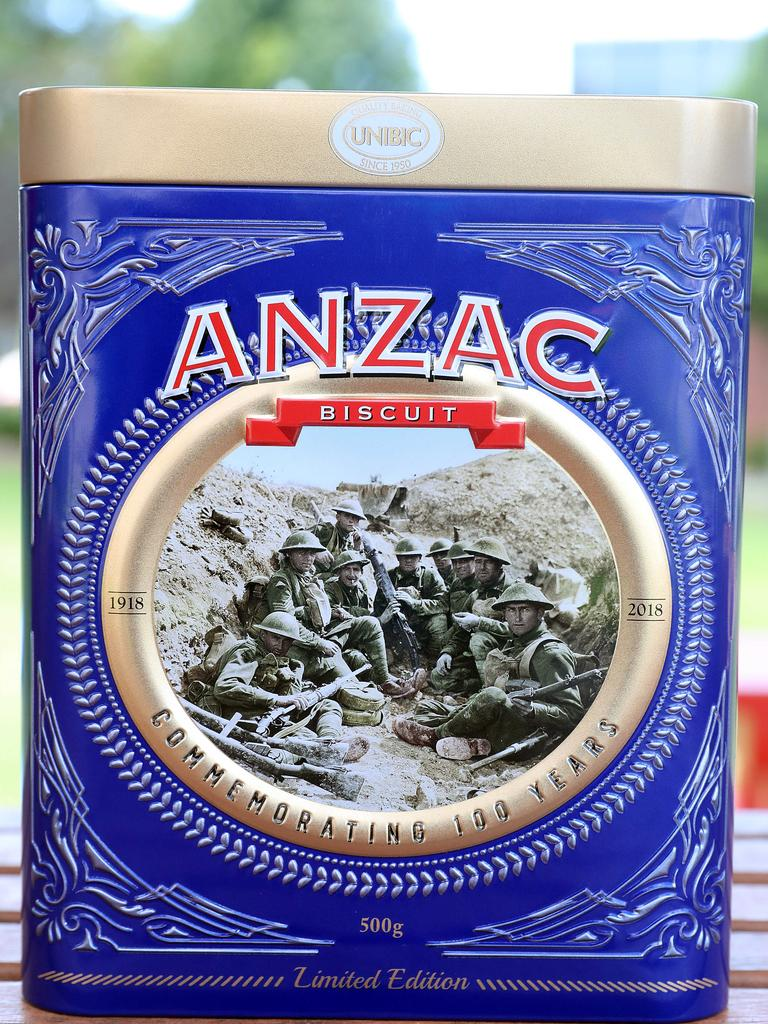 Anzac biscuit tin with photo of WWI Diggers. Picture: Richard Gosling