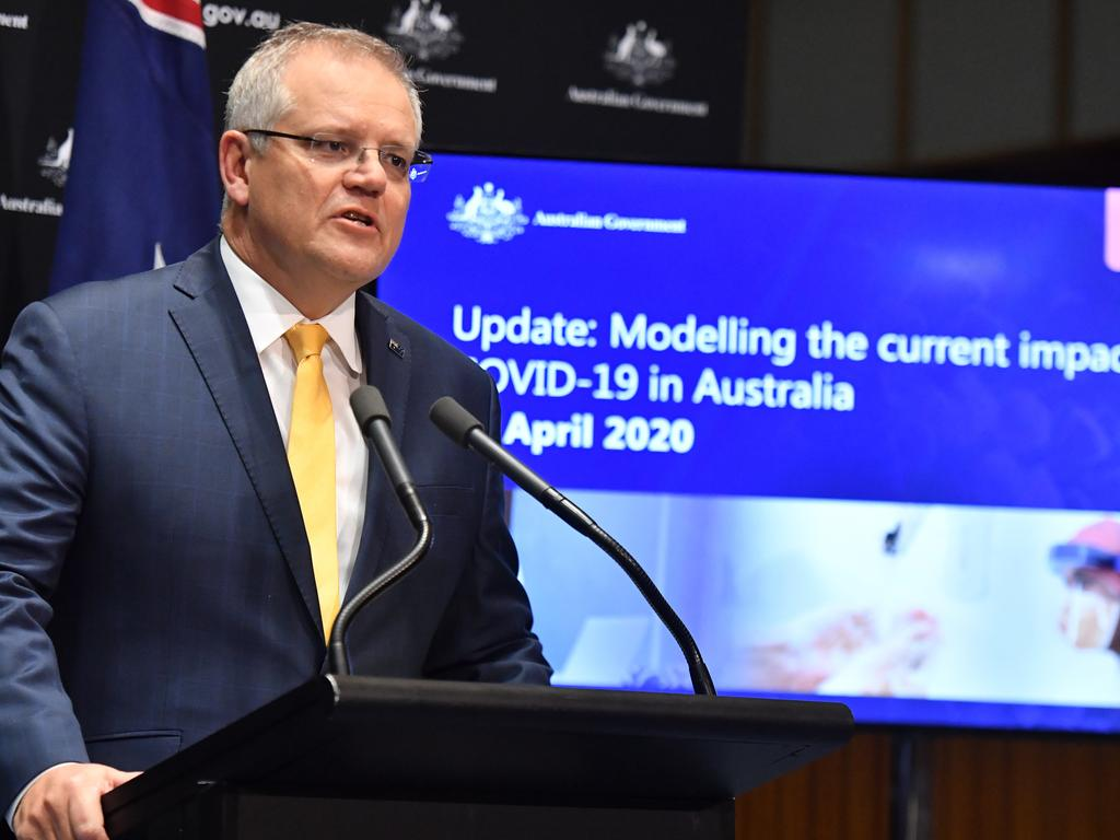 Prime Minister Scott Morrison giving a coronavirus update at a press conference in Canberra. Pcture: AAP