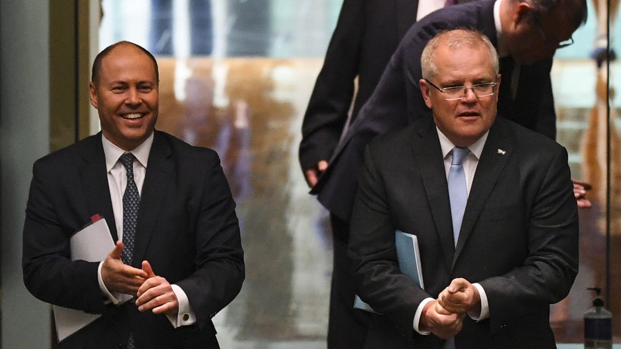 Australian Prime Minister Scott Morrison and Australian Treasurer Josh Frydenberg. Picture: AAP/Lukas Coch