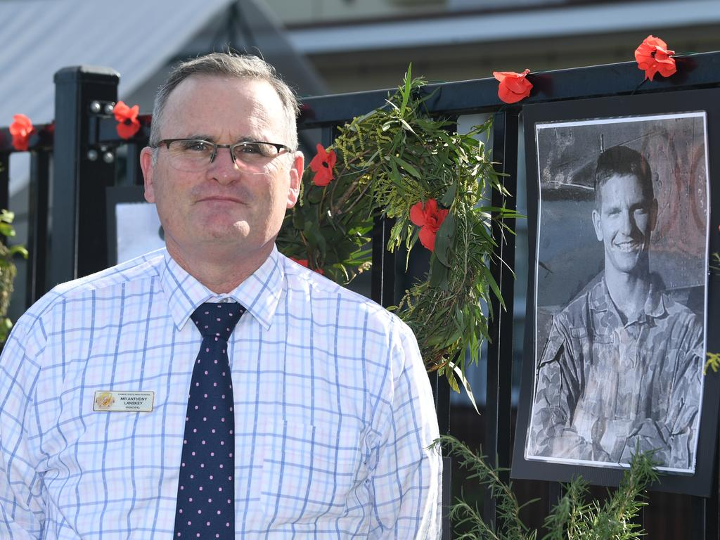Gympie State High School principal Anthony Lanskey with his school's tribute to the Anzacs