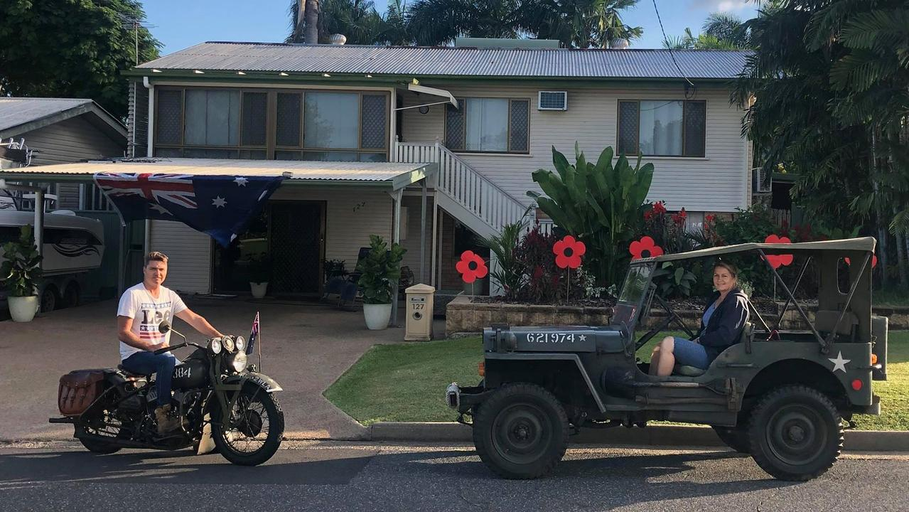 Troy Weier and Jodie Edwards carry on their late father's tradition of driving his vehicles to escort veterans on Anzac Day