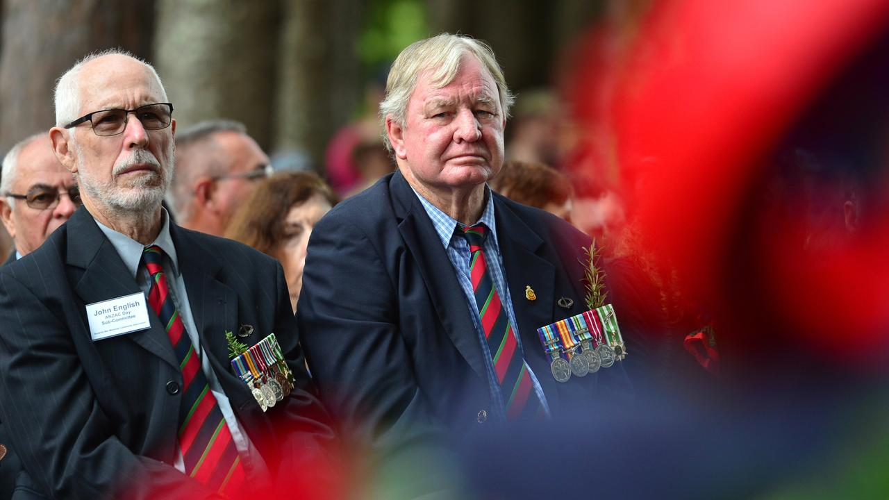 Vietnam veterans John English and Alan Chandler during the Anzac Day commemoration in Buderim last year. Photo: John McCutcheon