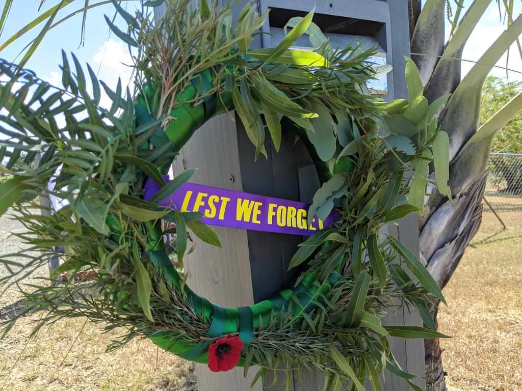 John and Sue Gregor decorated their front gate with an Anzac Day wreath. Photo: Ebony Graveur