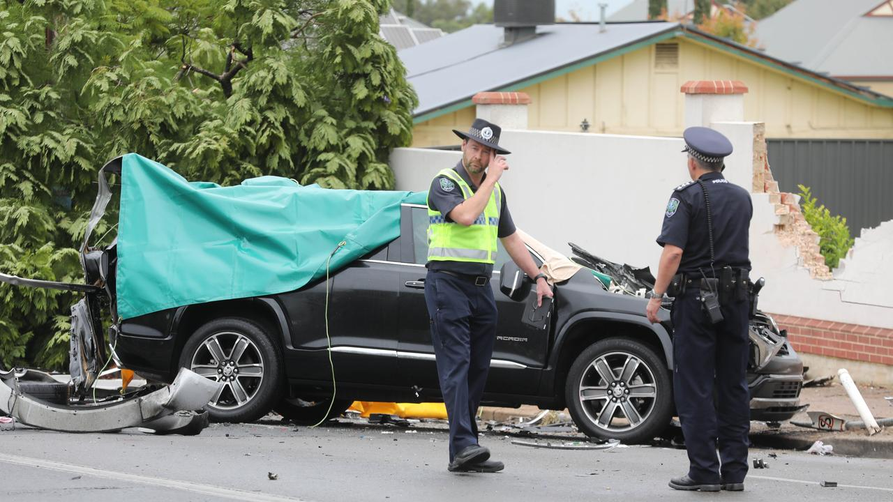 Police at the scene of the fatal crash at Urrbrae, where Chief-Supt Joanne Shanahan and another woman were killed. Picture: Dean Martin/AAP