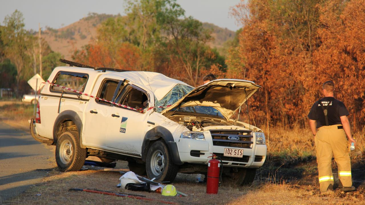A photo from the scene at Thangool on December 5, 2012 where a Ford Ranger rolled several times.