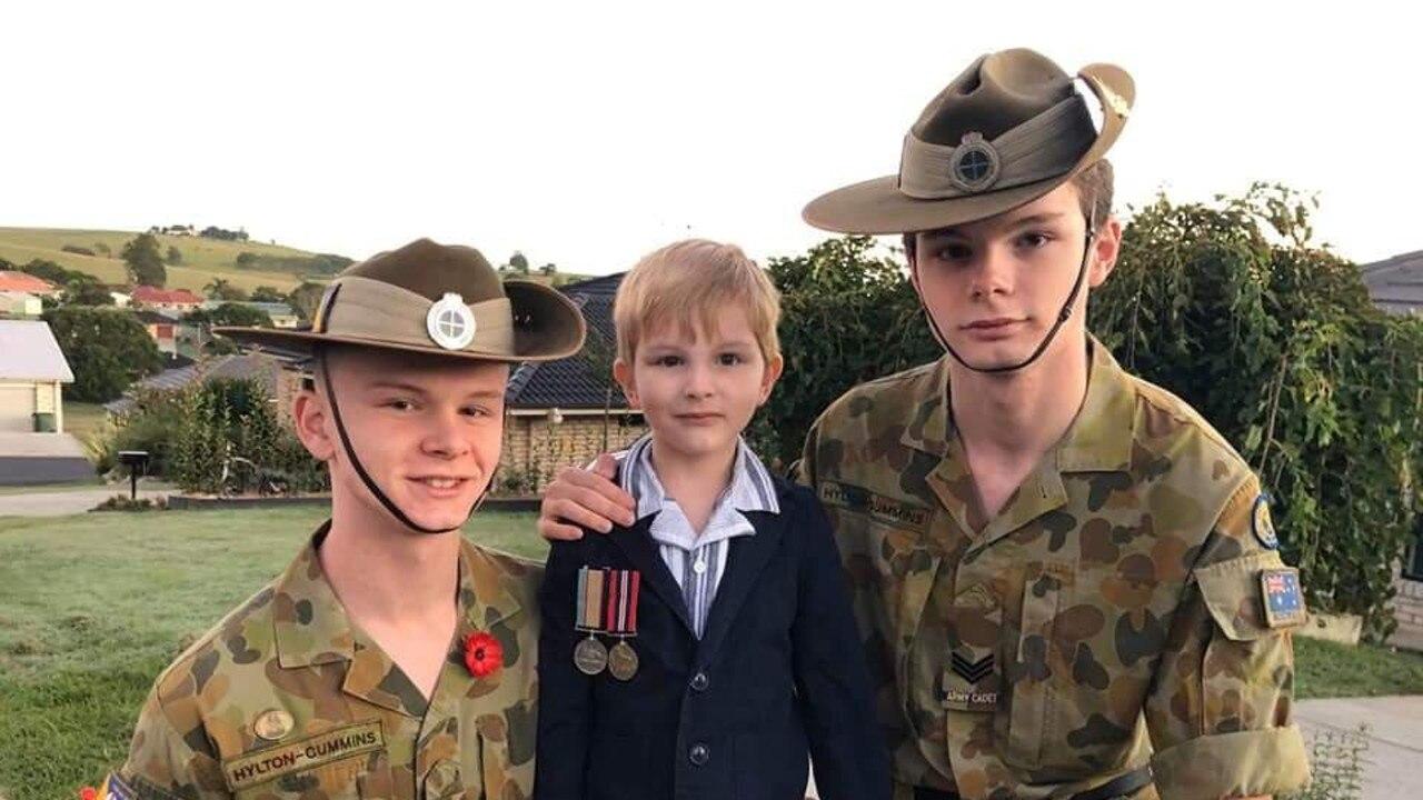 WO2 James Hylton-Cummins with little brother Alex and Sgt Ben Hylton-Cummins