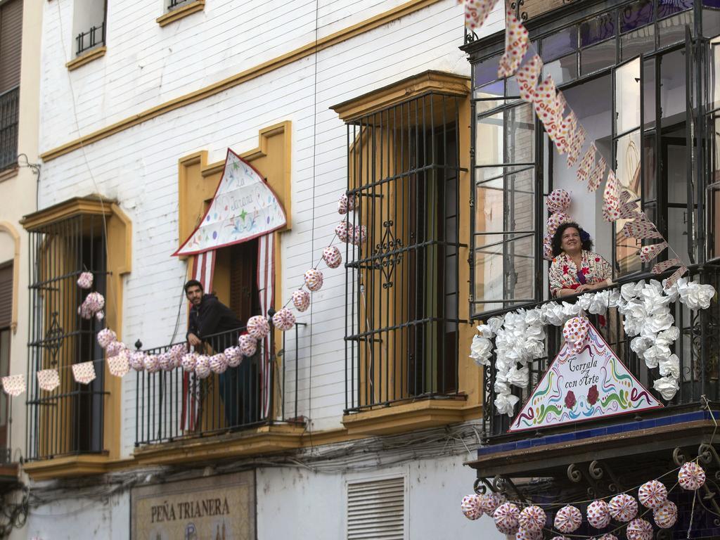 Spanish locals celebrated April Fair in Seville, Spain, during lockdown. Picture: AP Photo Miguel Morenatti