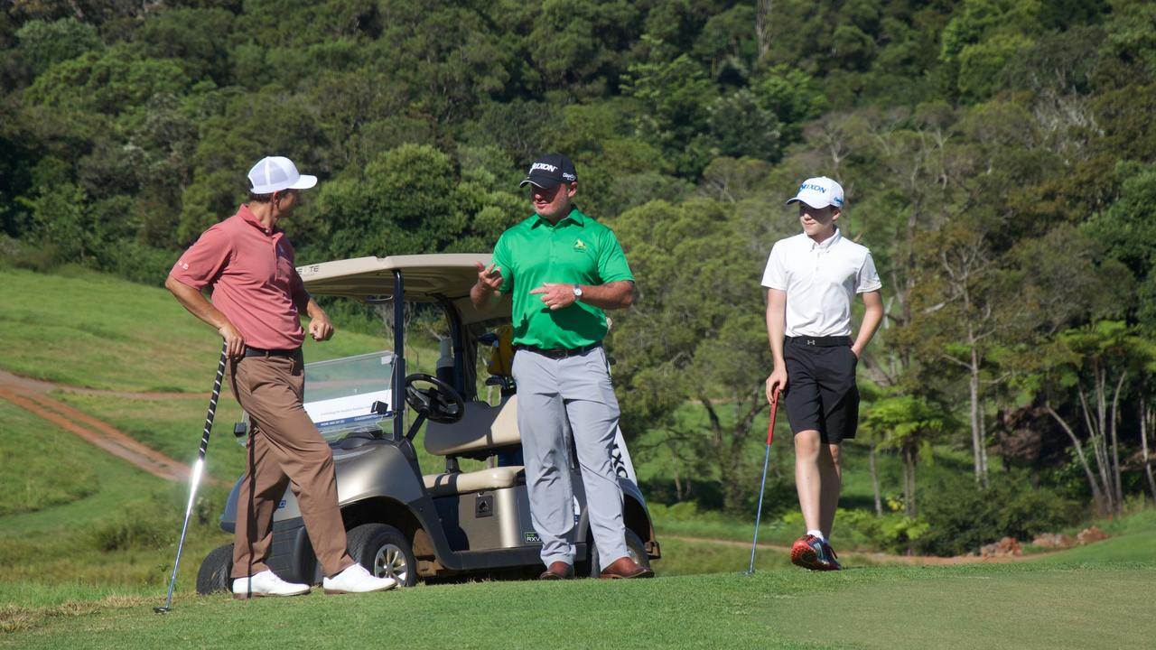 Former US Masters winner and PGA Tour pro Adam Scott dropped in to Maleny Golf Club last week to play with friend and club manager Wayne Perske. Perske's son, 13 year old, Billy is also pictured.
