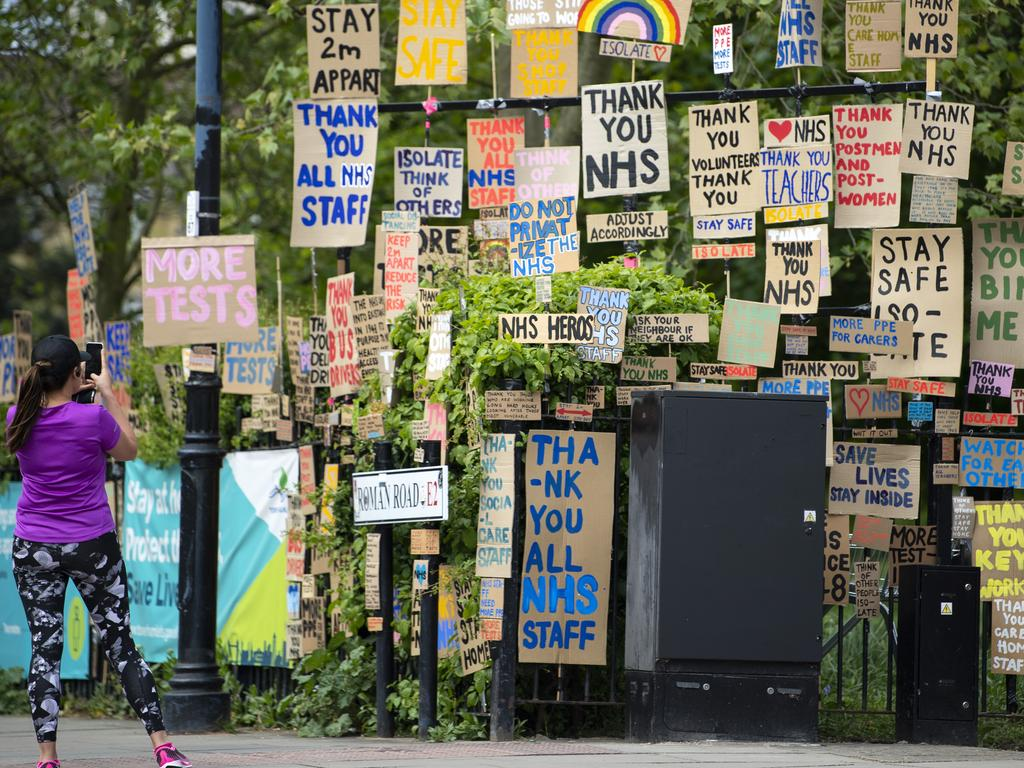 Signs in support of the NHS workers in East London. Picture: Getty