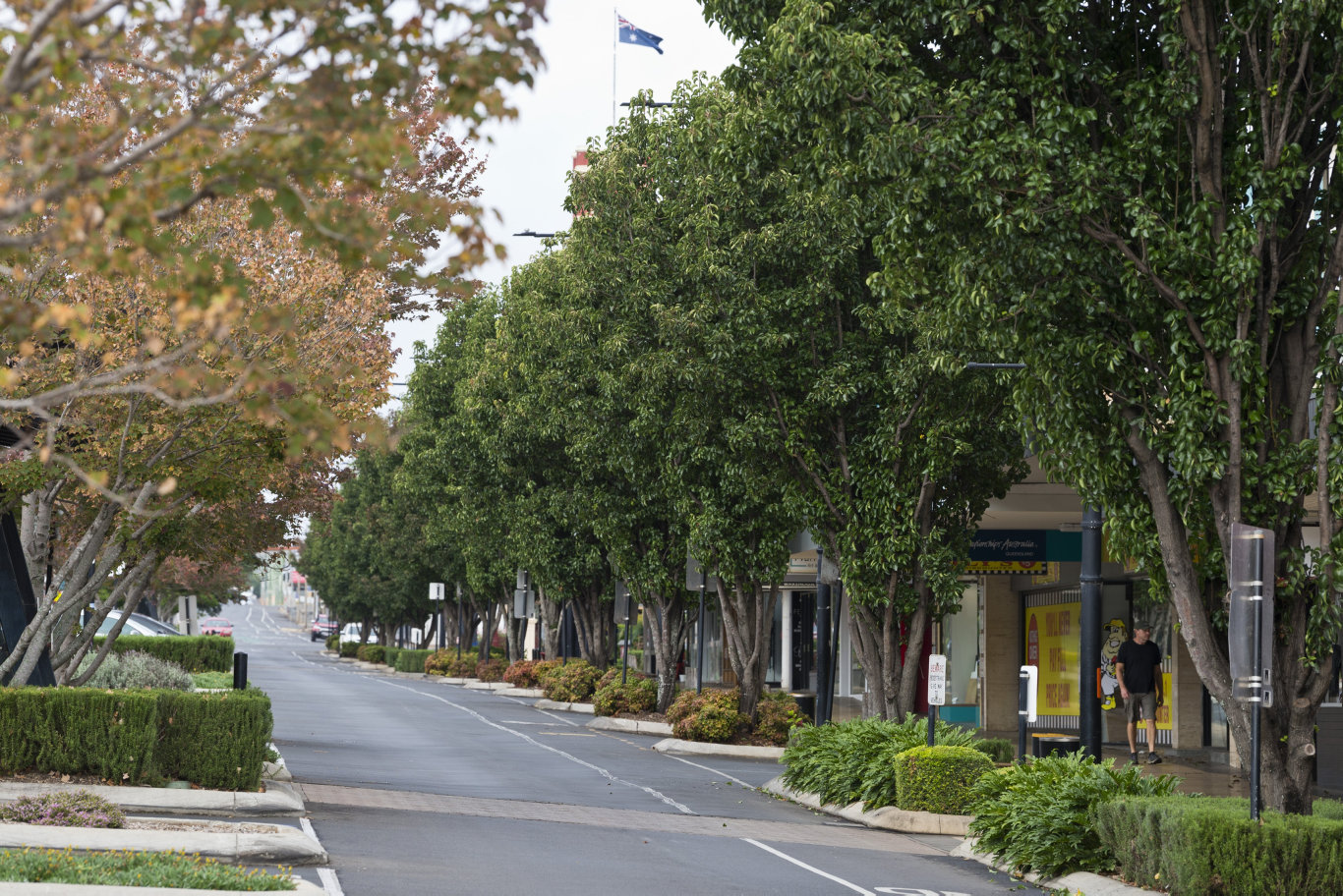 Ruthven St in the Toowoomba CBD is quiet as travel and stay at home restrictions of the COVID-19 coronavirus pandemic are felt, Friday, April 10, 2020. Picture: Kevin Farmer