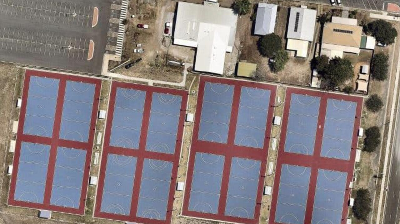 Aerial shot of the Mackay Netball Association courts and new building.