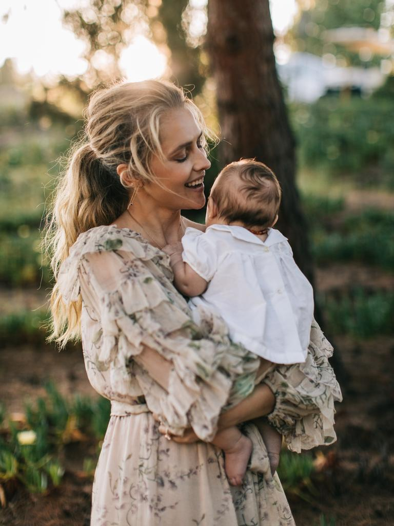 Teresa Palmer with baby, Poet.