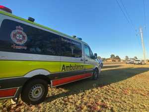Two workers being treated after grain feeder falls
