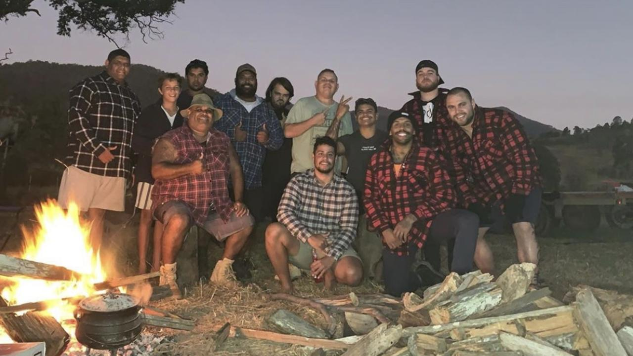 Latrell Mitchell and Josh Addo-Carr pictured with friends on a camping trip.