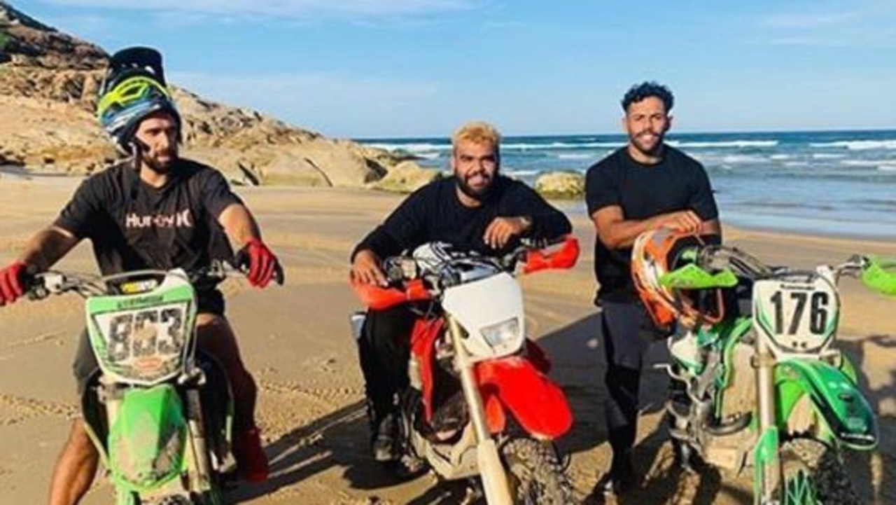 Josh Addo-Carr and Latrell Mitchell flouting social distancing rules during a trip to Taree.