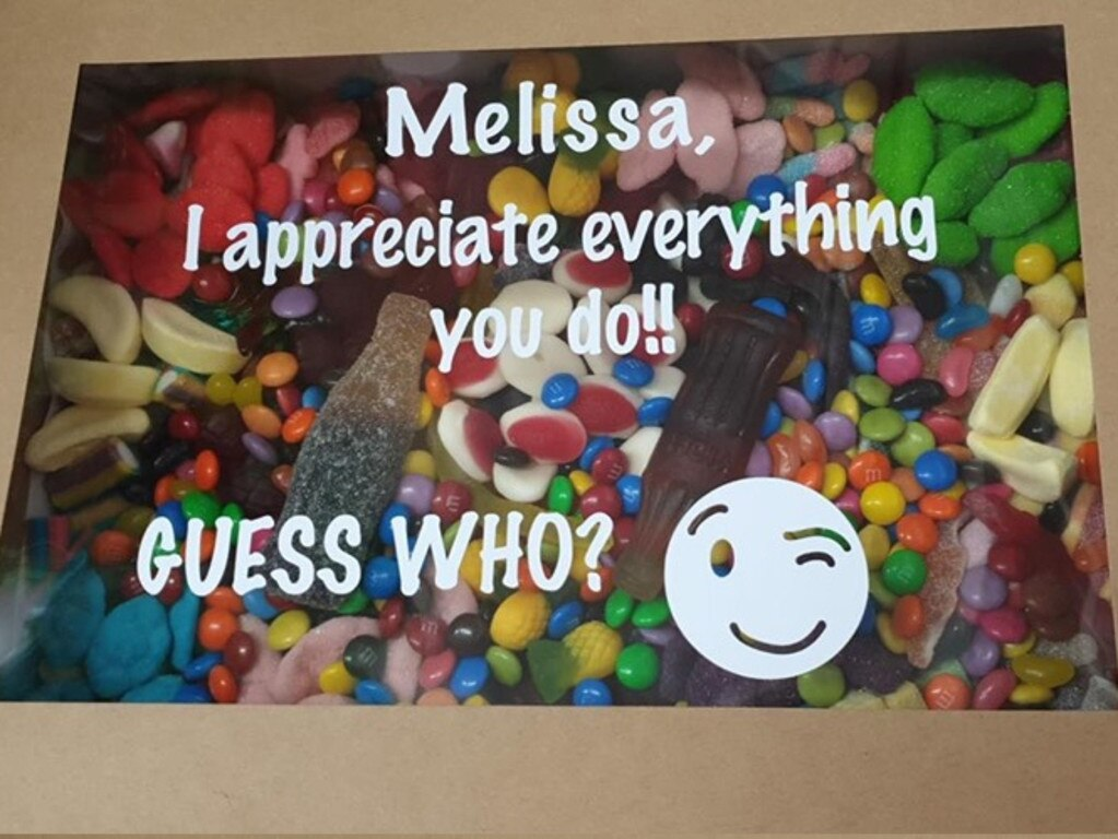 Staff member Melissa's box had the cryptic question