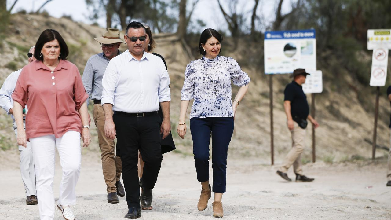 Minister for Local Government Shelley Hancock (at left) with Deputy Premiere John Barilaro and NSW Premiere Gladys Berejiklian. Picture: Dylan Robinson