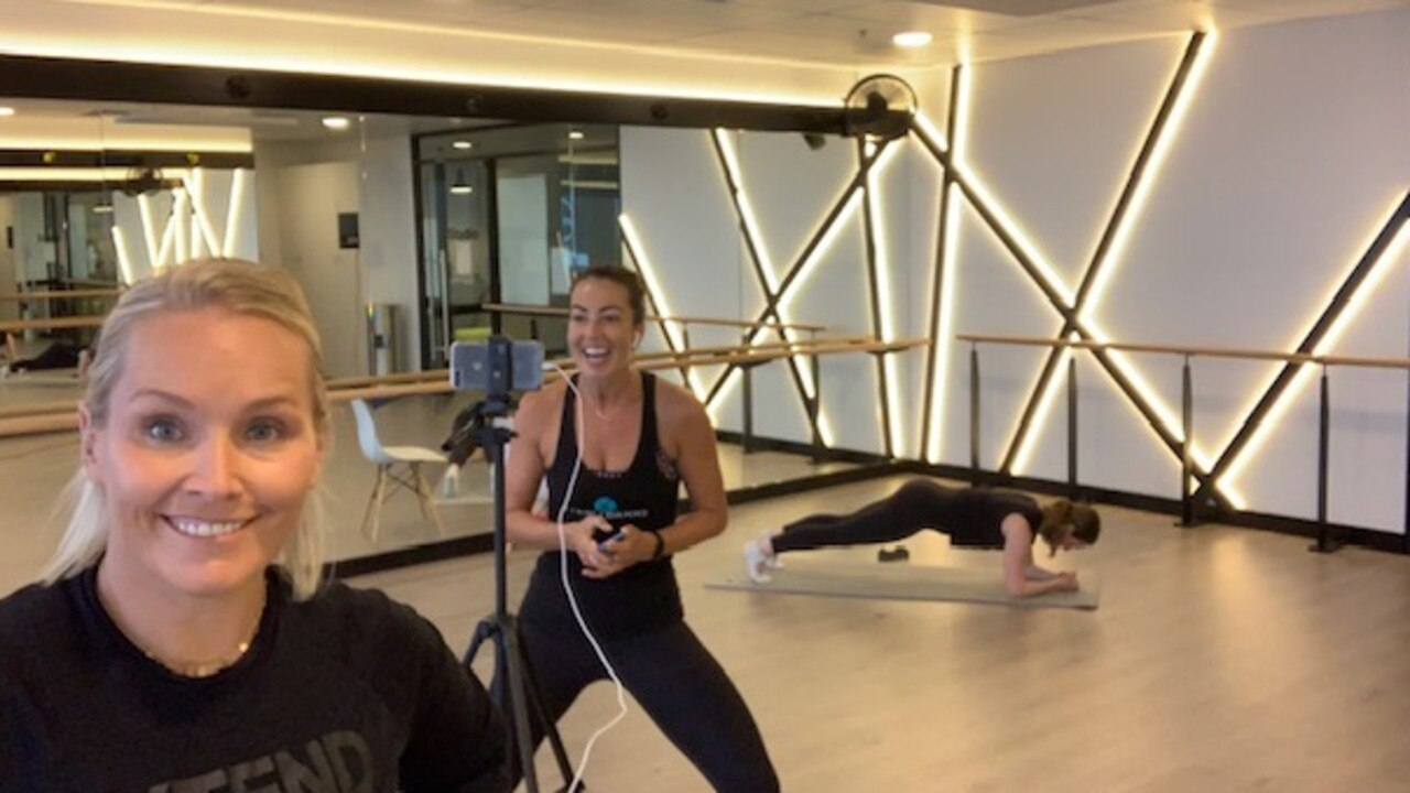 Liz Nable from Xtend Barre getting ready to record an online class. Picture: Supplied.