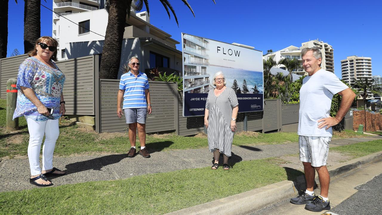 FEARFUL: Rosie Sawyer, Bernie McGuinness, Liz Gordan and Phill Roddy are concerned about a new development at Rainbow Bay. Photo: Scott Powick.