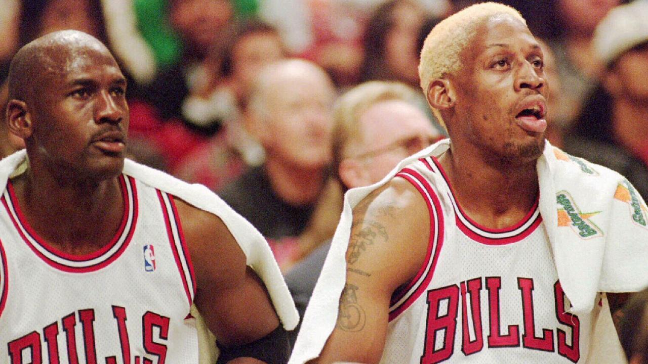 Michael Jordan and Dennis Rodman. (AP Photo/Fred Jewell)
