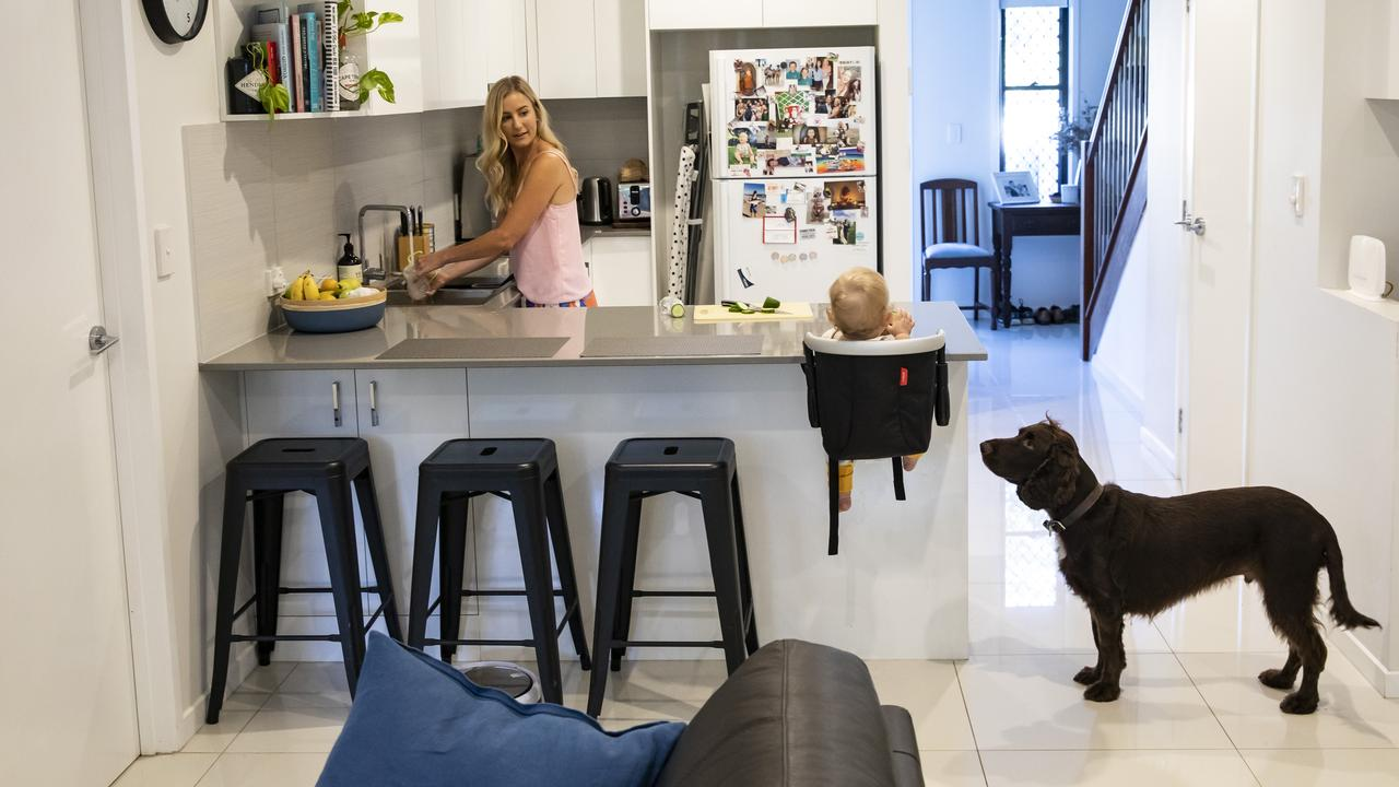 """Many households have had to adjust to working from home and the """"new normal"""" — possibly without childcare but with homeschooling. Picture: Mark Cranitch."""