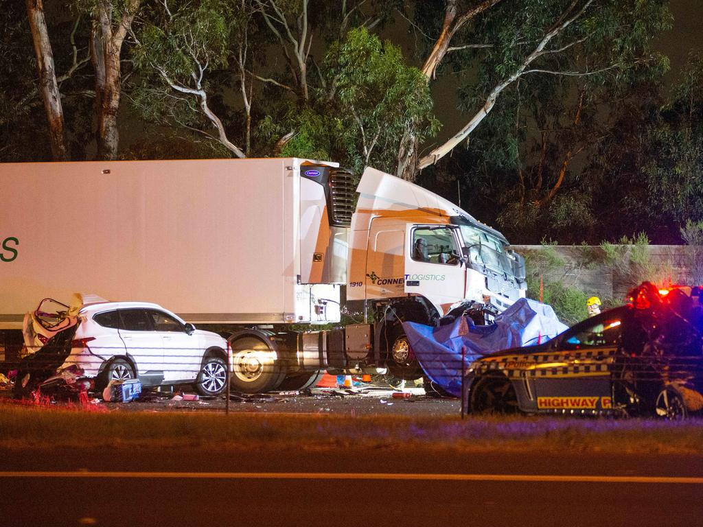The multi vehicle car accident involving a truck and Victoria Police on the Eastern Freeway between Chandler Hwy and Burke Road. Picture: Mark Stewart