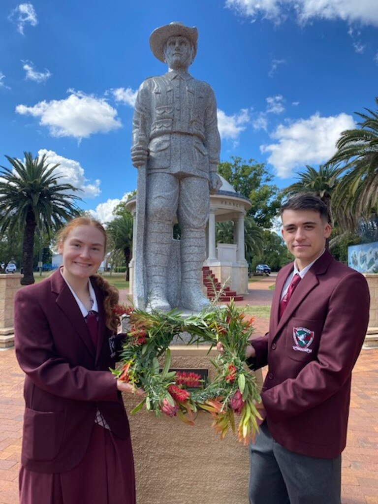 ANZAC DAY: St Mary's school captains Elizabeth Watson and Kyron Clegg. Photo: St Mary's