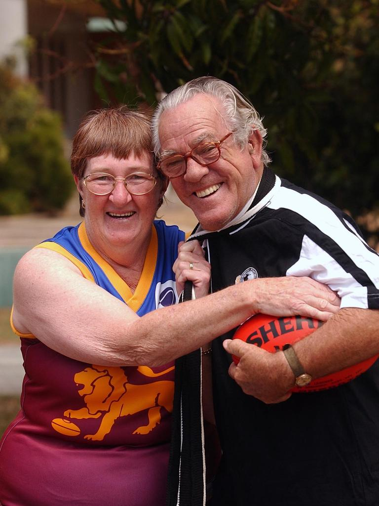 Josie and Mick Rogers in 2003, prior to the AFL grand final between Brisbane and Collingwood. Picture: Peter Holt
