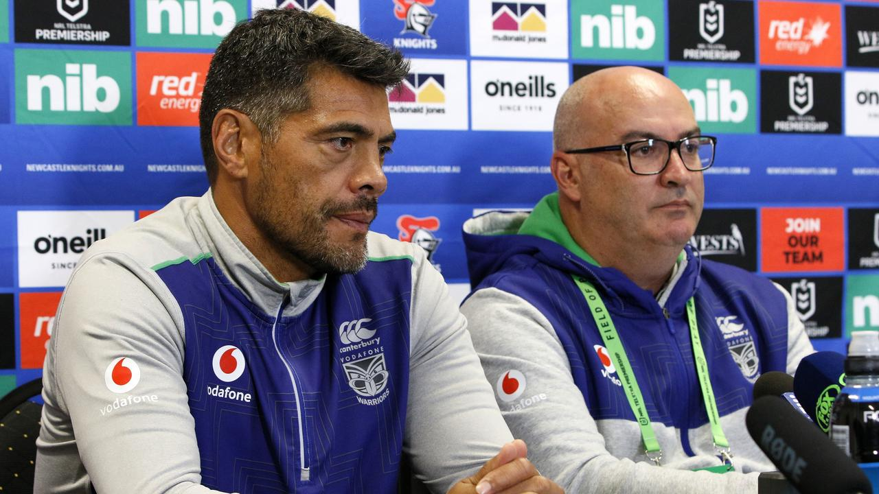 Warriors coach Stephen Kearney and CEO Cameron George. The club looks set to be heading to Tamworth instead of Lennox Head for its training base. Photo Darren Pateman.