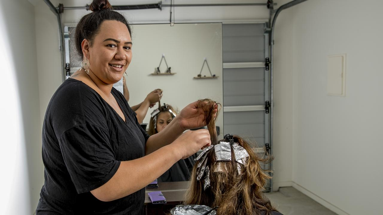 Kiwi hairdresser Kayla Urwin has taken her financial future into her own hands by opening up a home salon in her Pimpama home. Picture: Jerad Williams