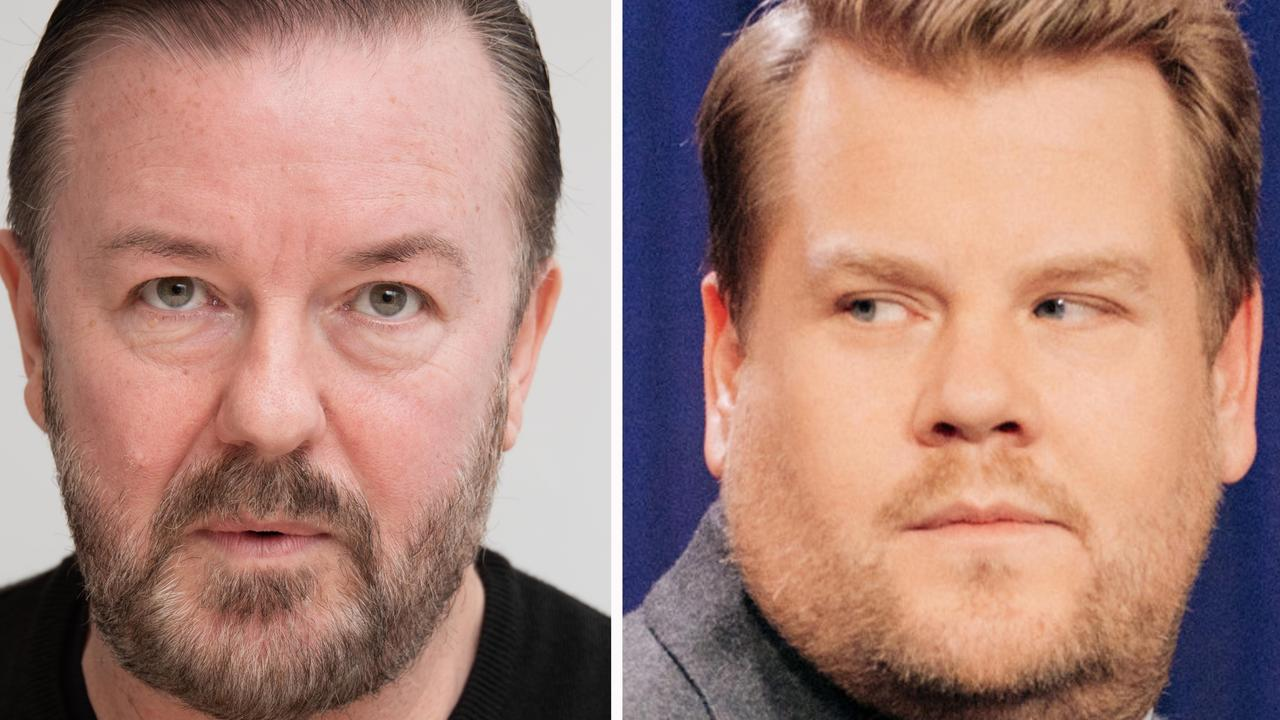 Ricky Gervais (left) and James Corden.