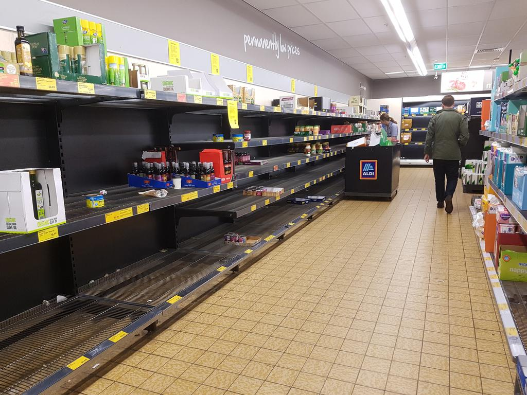 Panic buying at Aldi back in March. Picture: Supplied