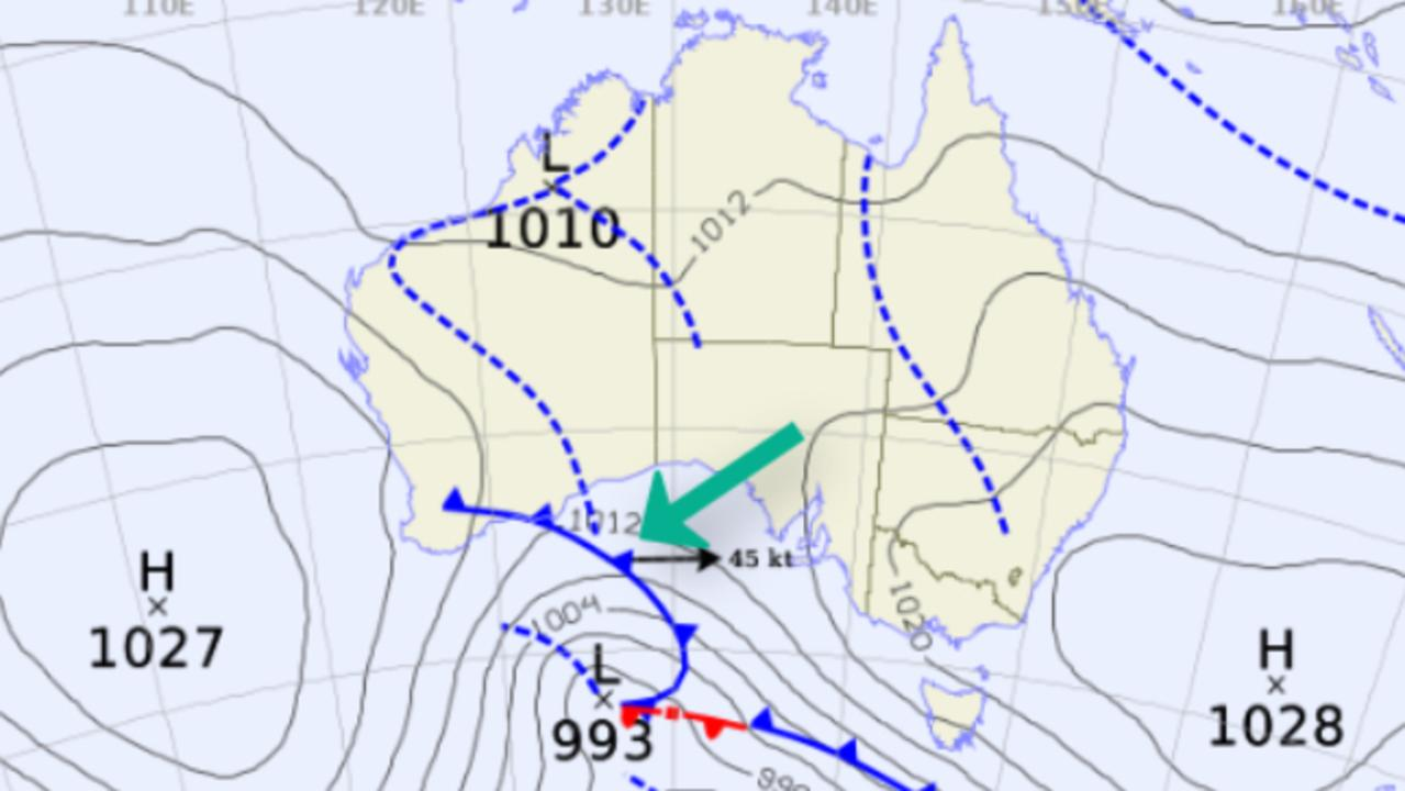 A Bureau of Meteorology weather chart shows the cold air system making its way to Queensland. Picture: Bureau of Meteorology