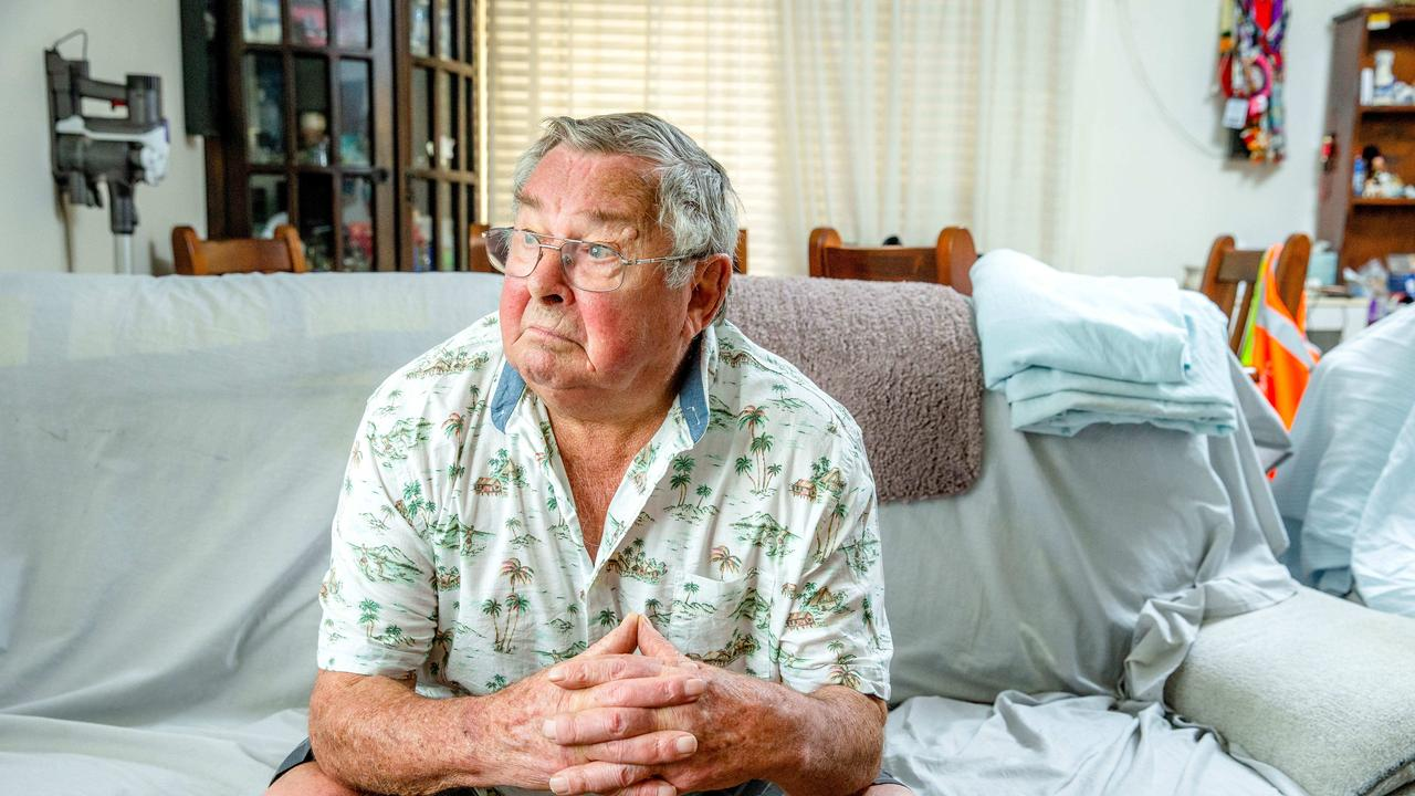 Goodna flood victim Frank Beaumont poses for a photograph at his Enid Street house, Friday, December 20, 2019 - Picture: Richard Walker